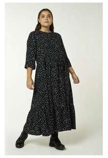 Vestido Longo Manga Longa Estampado Preto