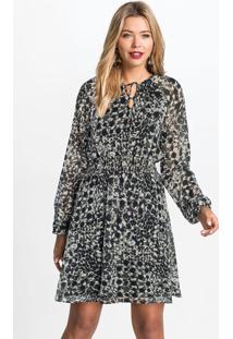 Vestido Com Decote Em Laço Estampa/Preta