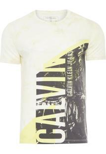 Camiseta Masculina Manga Curta Tie Dye - Amarelo