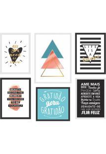 Conjunto Com 6 Quadros Decorativos Good Vibe Ll Colorido