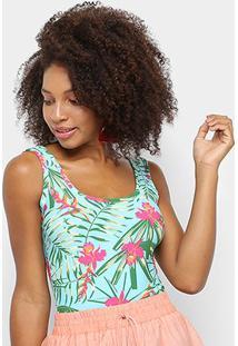 Body Naif Básico Floral - Feminino-Verde