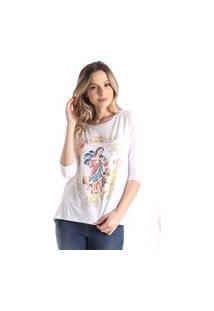 T-Shirts Daniela Cristina Manga Alongada 10271 2 Branco - Branco - Pp