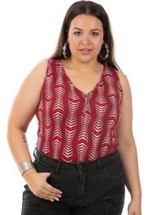 Blusa Sem Mangas Estampada Vermelho Habana