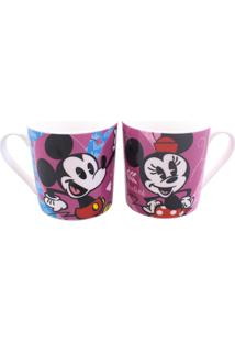 Caneca Minas De Presentes Mickey & Minnie Rosa