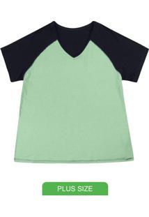 Blusa Básica Com Decote V E Detalhe Preto