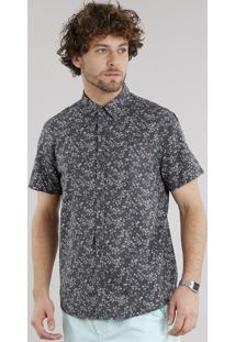 Camisa Masculina Estampada Floral Com Bolso Manga Curta Chumbo