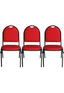 Kit 03 Cadeiras Pethiflex Essencial Hot Fixável Couro Vermelho