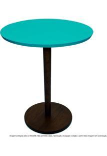 Mesa Lateral De Canto Decorativa Monopé Laqueada Tabaco E Azul Tiffany