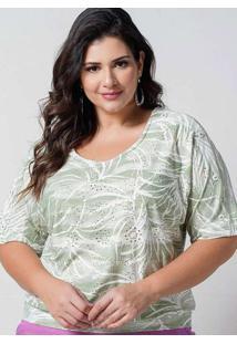 Blusa Estampada Almaria Plus Size New Umbi Barra C