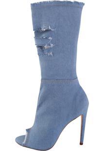 Bota Open Boot Conceito Fashion Jeans Azul Claro