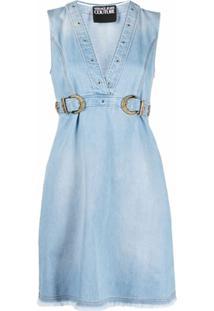 Versace Jeans Couture Vestido Jeans Com Detalhe De Fivela - Azul
