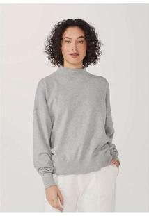 Blusão Feminino Modelagem Box Em Tricot Cinza