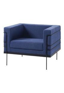 Poltrona Le Corbusier Azul Escuro Base Preta - 50169 Azul