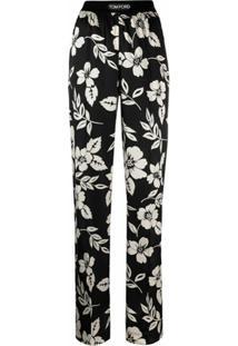 Tom Ford Calça Flare Com Estampa Floral - Preto