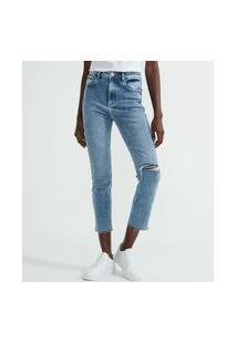 Calça Reta Cropped Jeans Com Barra Desfiada E Rasgos | Blue Steel | Azul | 44
