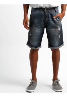 Bermuda Jeans Biotipo Barra Dobrada - Masculino-Jeans