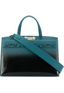 Mcm Bolsa Tote Em Degradê Com Alça De Mão - Azul