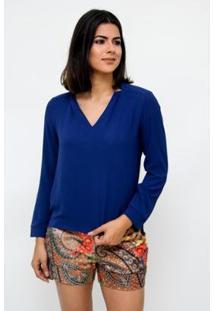 Camisa Clara Arruda Decote V 12049 - Feminino-Marinho