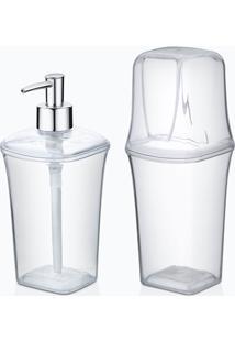 Conjunto Para Banheiro 2 Peças Transparente