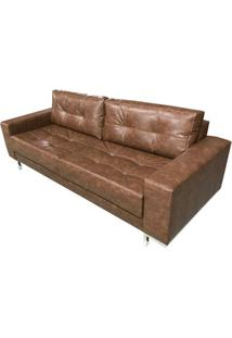 Sofa Fashion Courino Marrom Base Cromada 1,60 Mt (Larg) - 51742 - Sun House