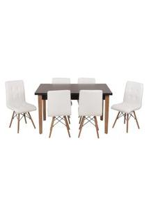 Conjunto Mesa De Jantar Luiza 135Cm Preta Com 6 Cadeiras Gomos - Branco