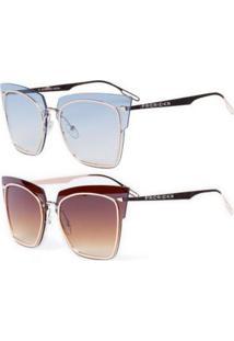 Promoção Kit 2 Óculos De Sol Femininos Prorider Casuais Dourado