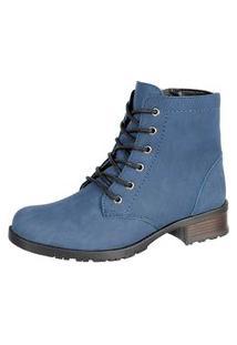 Bota Sapatofranca Casual Cano Curto Ankle Boot Com Cadarço Azul