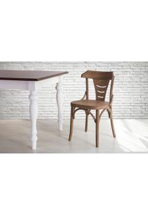 Cadeira De Madeira Tipo Restaurante Torneada Encosto E Assento Anatômico Nogueira Augustine - 45X50,5X83 Cm
