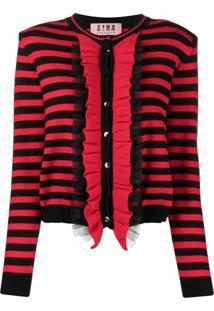 Gina Striped Ruffle-Trim Cardigan - Vermelho