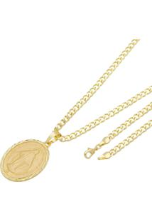 Pingente Nossa Senhora Das Graças Tudo Joias Com Corrente Grumet Folheada A Ouro 18K Dourada