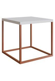 Mesa Para Sala De Estar Artesano Cube M 38Cm Branco