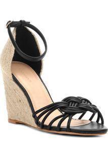 Sandã¡Lia Anabela Detalhe De Nã³- Preta & Bege- Salto:Shoestock