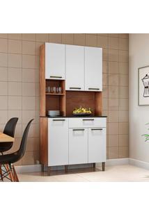 Cozinha Compacta Tannat Gold 6 Pt 1 Gv Castanho E Branca