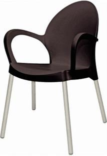 Cadeira Grace Base Aluminio Anodizado Cor Preto - 20044 - Sun House