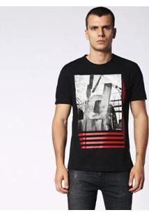 Camiseta Diesel Stripes Masculina - Masculino-Preto