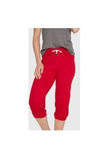 Calça Jogger Bruna Midi Casual Confort Viscolycra Com Cordão Vermelha