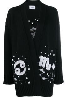 Dondup Cardigan Oversized Com Bordado - Preto