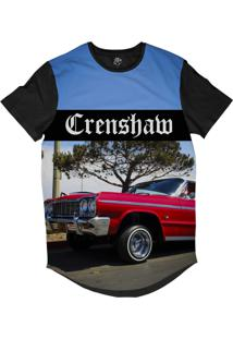 Camiseta Bsc Longline Crenshaw Lowrider Impala Sublimada Preta Azul