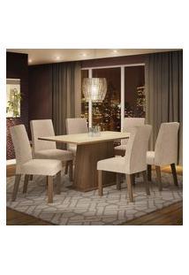 Conjunto Sala De Jantar Madesa Luciana Mesa Tampo De Madeira Com 6 Cadeiras - Rustic/Crema/Imperial Marrom