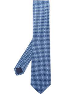 Salvatore Ferragamo Gravata De Seda Com Estampa 'Gancio' - Azul