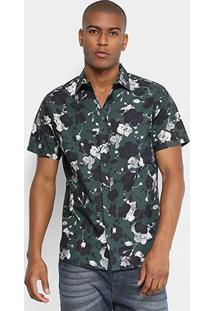 Camisa Manga Curta Forum Slim Fit Floral Masculina - Masculino-Verde+Preto