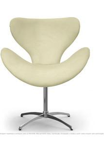 Cadeira Decorativa Poltrona Egg Areia Com Base Giratória
