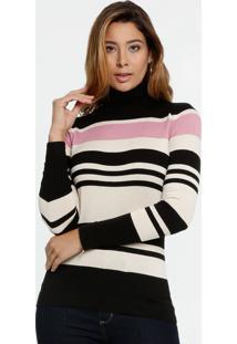 Suéter Feminino Listrado Gola Alta Marisa
