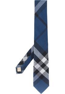 Burberry Gravata De Cashmere Xadrez - Azul