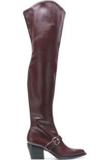 Chloé Bota Over-The-Knee Com Fivelas - Vermelho
