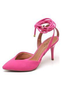 Sapato Ellas Online Scarpin Amarraçáo Rosa