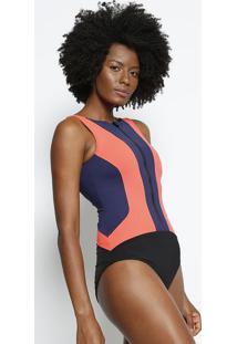 Body Com Recortes- Laranja & Azul- Body For Surebody For Sure