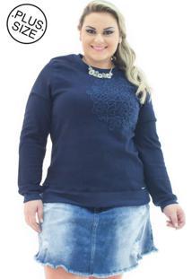 Moletom Jeans Feminino Com Bordado Plus Size