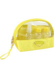 Kit Necessaire Com Frascos Com Relevo Jacki Design Candy Kiss Amarelo - Tricae