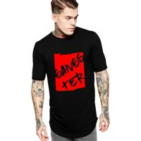 82d01775d Camiseta Criativa Urbana Long Line Oversized Gangster - Masculino-Preto